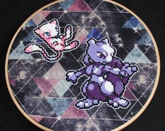 Mew & Mewtwo Pokemon Cross Stitch Wall Art