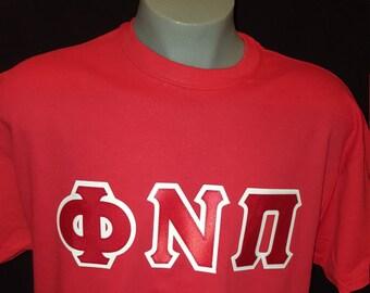 Phi Nu Pi 2 color applique t-shirt