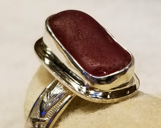 Red sea glass ring, any size, handcrafted from sea glass found on the beaches of Provincetown MA