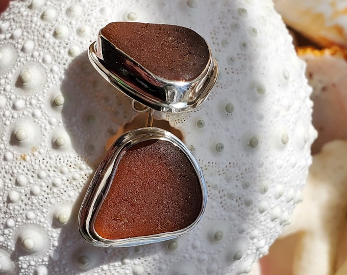 Brown sea glass stud earrings, handmade, bezel set in fine silver with a sterling silver base and stud, made from sea glass found by us