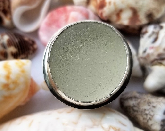 Light sea foam ring, any size, customer selected, made from sea glass found on the beaches of Ptown MA
