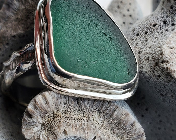 Teal sea glass ring, handmade, bezel set in fine silver and using sea glass found by us on the beaches of Provincetown MA