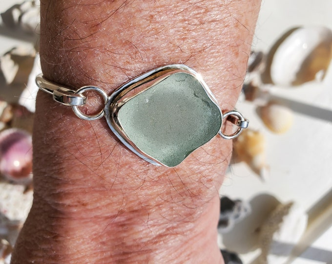 Sea foam bracelet handcrafted in fine and sterling silver from sea glass found by us and used as found on the beaches of Provincetown MA