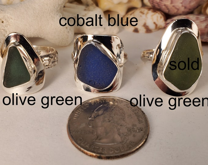 Handcrafted sea glass rings, using sea glass found on the beaches of Provincetown MA