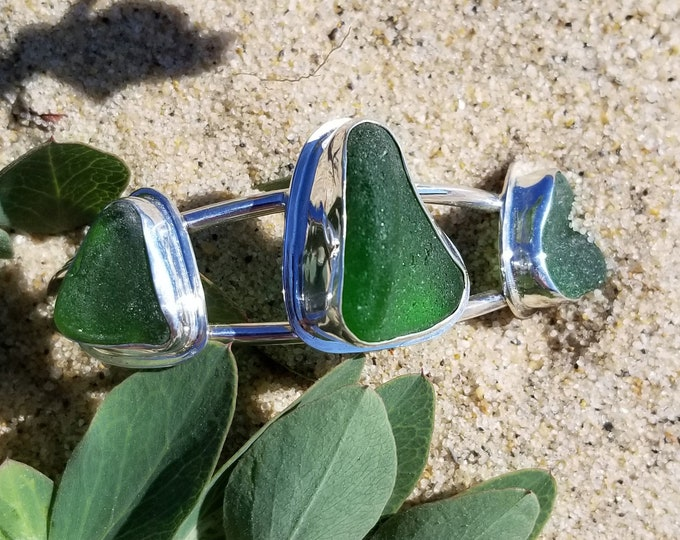 Green sea glass adjustable cuff bracelet, handcrafted in fine and sterling silver, and glass found by us in Provincetown MA