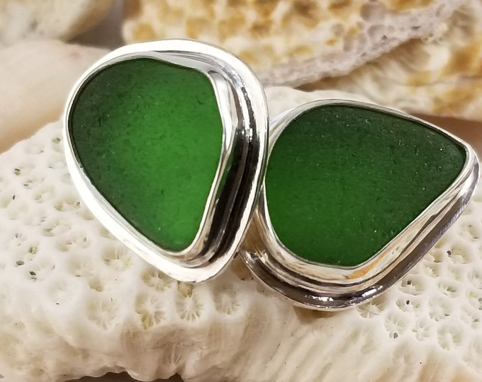 Green sea glass stud earrings, handcrafted in fine and sterling silver using sea glass found by us on the beaches of Provincetown MA