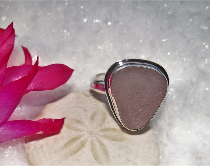 Purple sea glass ring,any size, handcrafted in fine and sterling silver. Sea glass is from the beaches of Provincetown MA