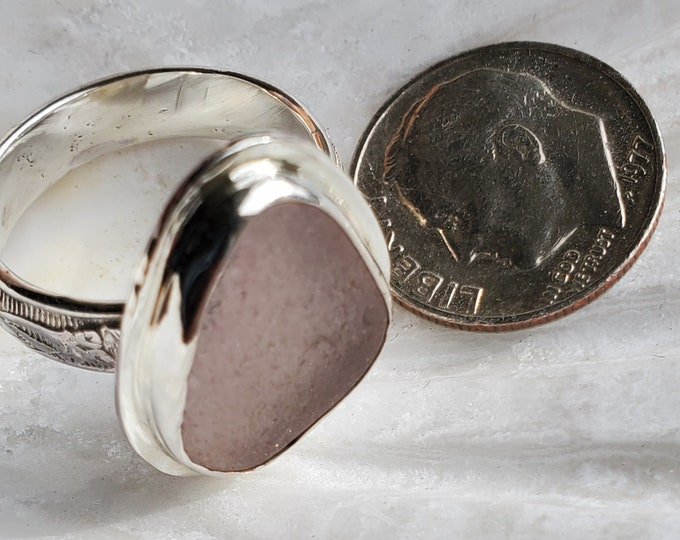Light purple sea glass ring handmade, any size and band style, no extra charge, using sea glass found by us on the beaches of ptown MA
