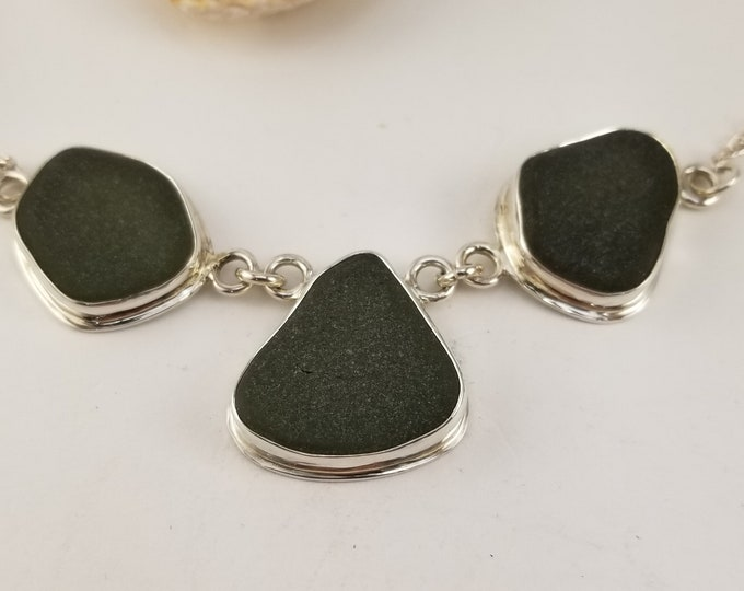 Sea glass, black, necklace, handcrafted in fine and sterling silver and glass found on Provincetown MA beaches