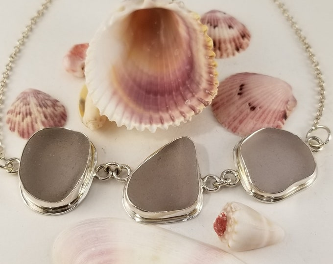 Purple sea glass 3 piece necklace, handcrafted in fine and sterling silver and using sea glass found in Provincetown MA beaches