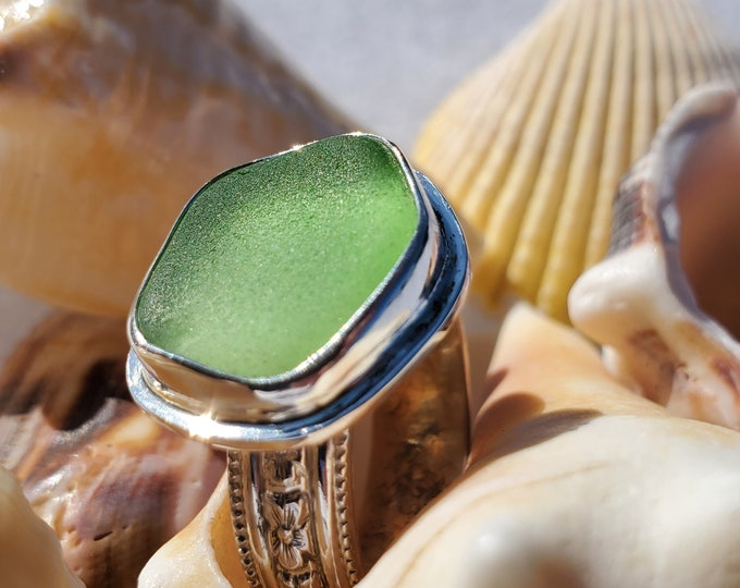 Green sea glass ring, handcrafted, bezel set, any size and band style at no extra cost, using sea glass from the beaches of Provincetown MA
