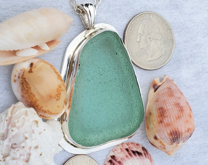 Sea foam sea glass pendant, chain included, handcrafted in fine and sterling silver using sea glass found by us in Provincetown MA