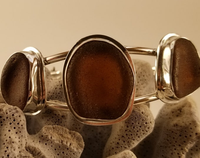 Brown three piece sea glass cuff adjustable cuff bracelet, handcrafted in fine and sterling silver using sea glass found in Provincetown MA