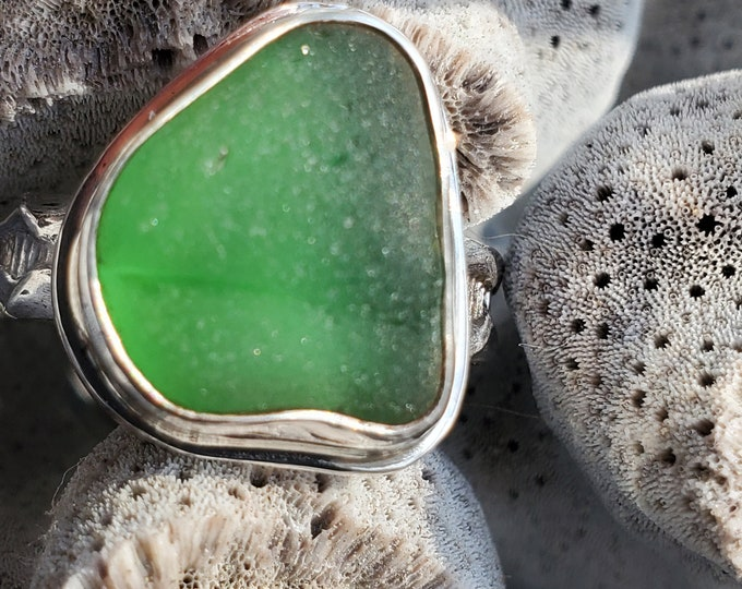 Green sea glass ring, handmade, bezel set, any size, any band style at no extra cost, using sea glass found by us on the beaches of ptown MA