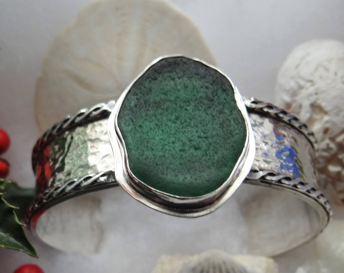 Green Sea Glass adjustable cuff bracelet, handcrafted from sea glass found on the beaches of Provincetown MA