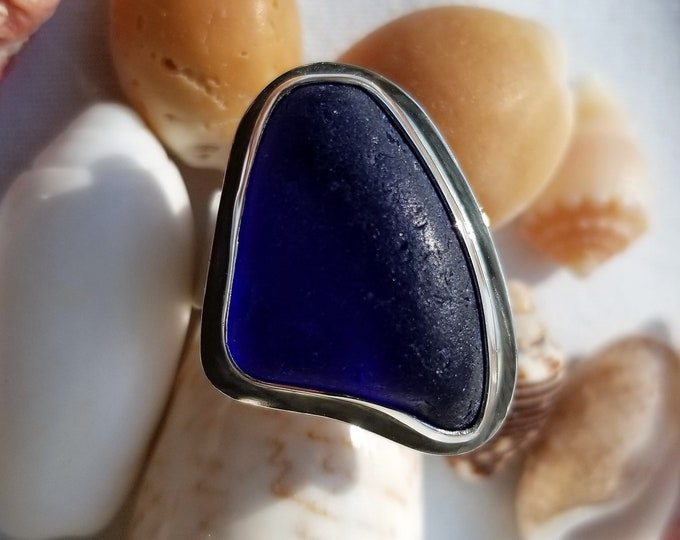 Cobalt blue sea glass ring, any size, handcrafted in a custom fine silver bezel, which sits on a base and ring of sterling silver.