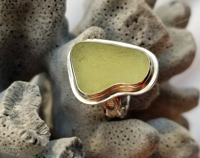 Olive green sea glass ring, any size, handcrafted in fine silver and sterling silver using sea glass from the beaches of Provincetown MA