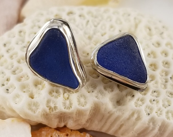 Blue sea glass stud earrings, handcrafted in five and sterling silver using glass found on the beaches of Provincetown MA