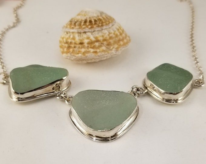 Sea Foam sea glass three piece necklace, handcrafted in fine and sterling silver using sea glass found on the beaches of Provincetown MA