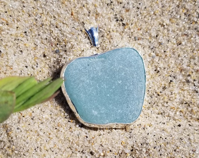 Light blue, apple shaped pendant, made from beach glass found on the shores of Lake Erie in Madison Ohio