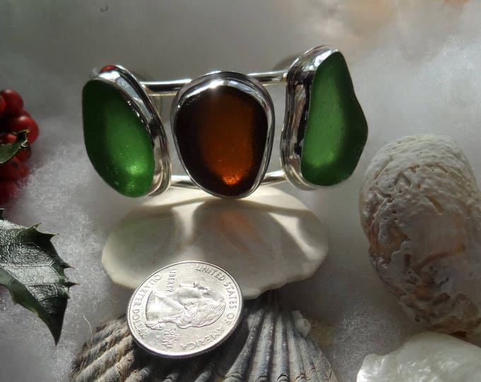 Sea glass, adjustable cuff bracelet, handcrafted in sterling silver, from sea glass found on the beaches of Provincetown MA