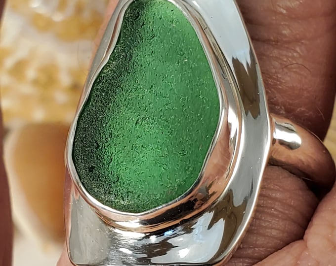 Handcrafted green sea glass ring, any size any style, at no extra charge, using sea glass found on the beaches of Provincetown MA