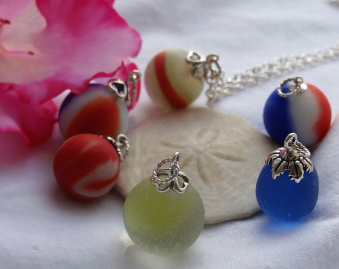 Beach marble necklace, found on the beach of Lake Erie in Madison Ohio