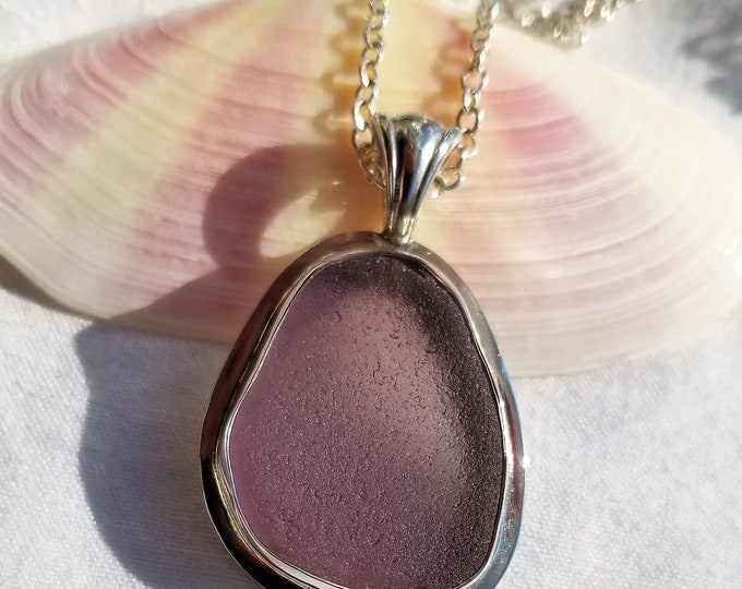 Purple sea glass pendant, chain included, handcrafted using sea glass found by us on the beaches of Provincetown MA
