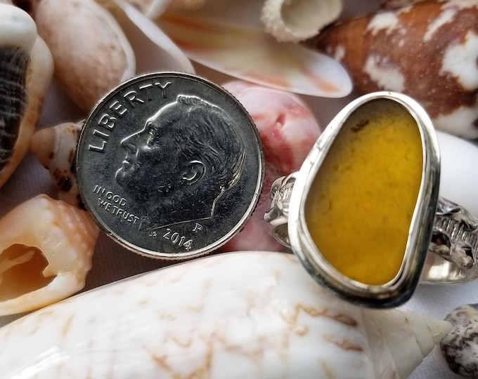 Yellow sea glass ring, any size, handcrafted from sea glass found on the beaches of Provincetown MA