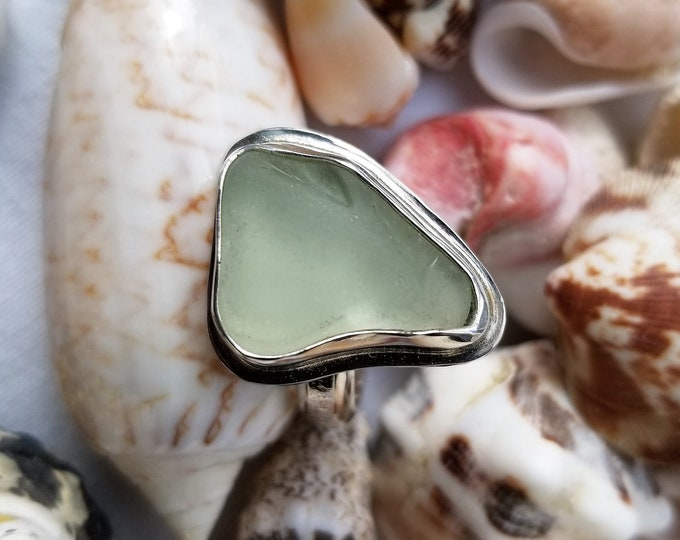 Sea Foam ring, any size, handcrafted in fine and sterling silver, from sea glass found on the beaches of Ptown MA
