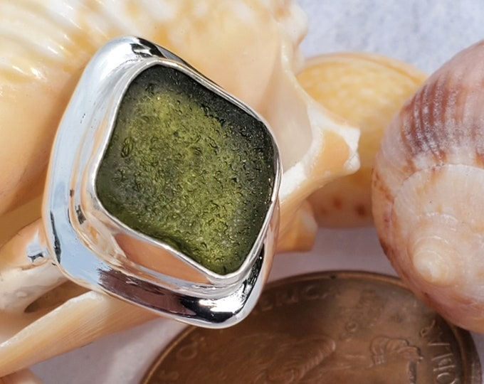 Olive green sea glass ring handmade,  bezel set in fine silver, sold any size and band style at no extra cost, using sea glass from ptown MA