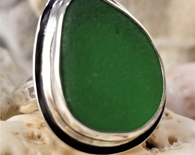 Green sea glass ring, any size and band style,  handcrafted in silver using sea glass found by us on the beaches of Provincetown MA