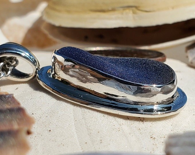 Blue sea glass pendant, handmade using sea glass found by us and used as found on the beaches of Provincetown MA