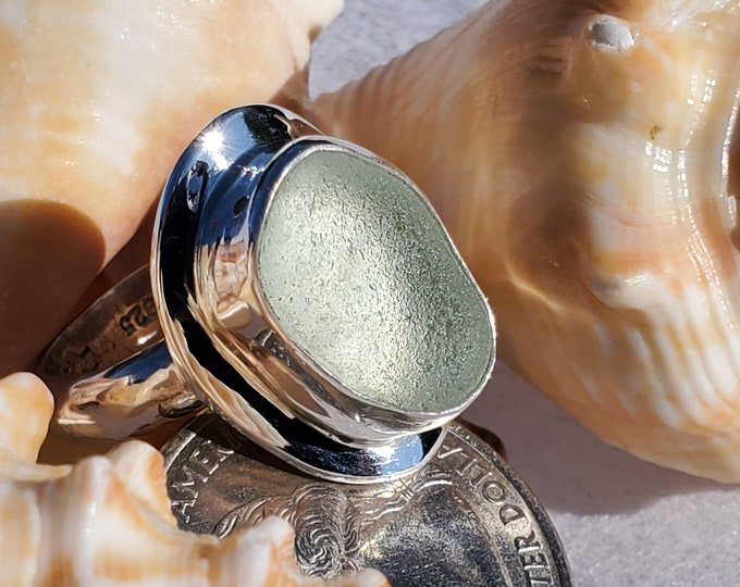 Sea foam sea glass ring, handcrafted, bezel set, sold any size, any band style at no extra cost, using sea glass from the beaches of Ptown