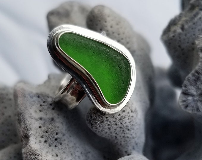 Green sea glass ring, any size, handcrafted in fine and sterling silver from sea glass found, by us, on the beaches of Ptown MA