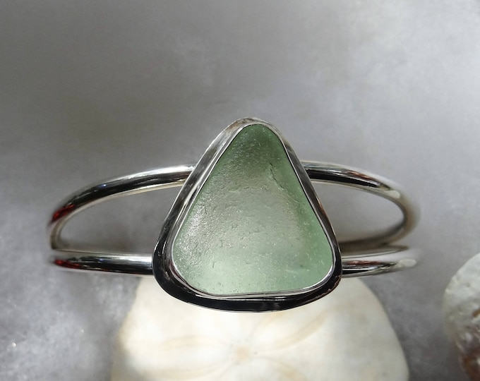 Sea foam sea glass adjustable cuff bracelet, handcrafted from sea glass found on the beaches of Provincetown MA