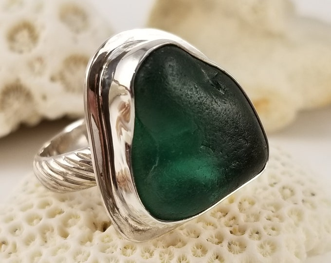 Teal sea glass ring, any size, handcrafted in fine and sterling silver using sea glass found by us on the beaches of Provincetown MA
