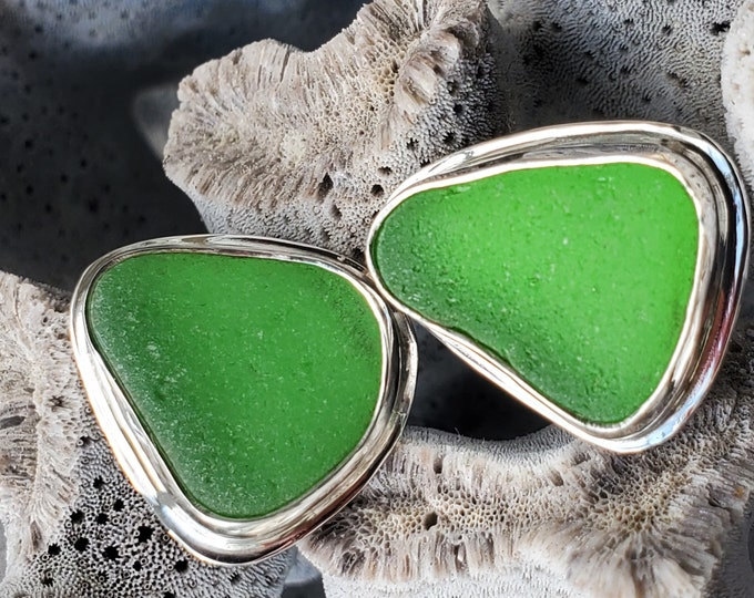 Green sea glass stud earrings, handmade, bezel set in fine, .999 silver using sea glass found by us on the beaches of Provincetown MA
