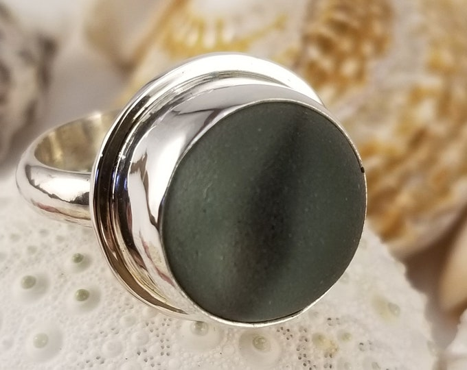 Beach glass cats eye marble ring, any size, set in fine and sterling silver using marble found on the shores of Lake Erie in Ohio