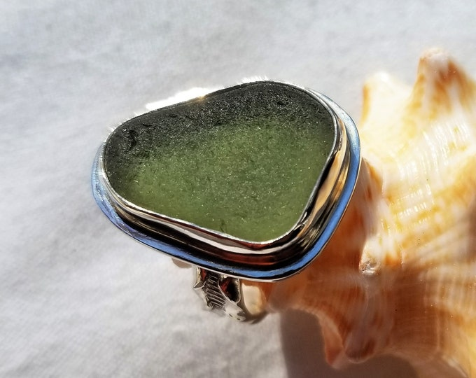 Olive Green sea glass ring, any size, handcrafted in fine and sterling silver from sea glass found on the beaches, by us, of Provincetown MA