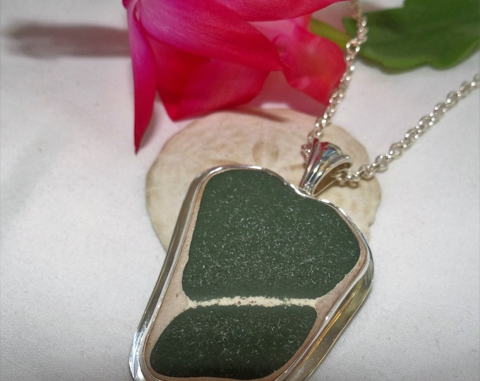 Green beach pottery pendant handcrafted from pottery found on the beaches of Lake Erie in Madison Ohio