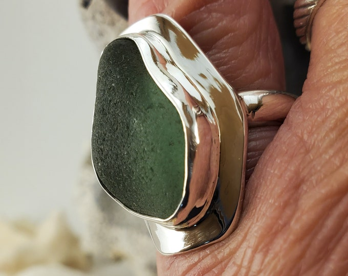 Handcrafted olive green sea glass ring any size and band style at no extra cost. The sea glass is from the beaches of Provincetown MA