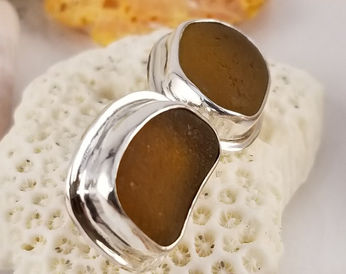 brown sea glass stud earrings, handcrafted in fine and sterling silver, from sea glass found on the beaches of Provincetown MA