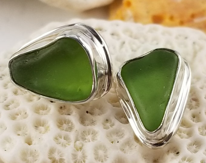 Lime green sea glass stud earrings handcrafted in fine and sterling silver using sea glass found by us on the beaches of Provincetown MA
