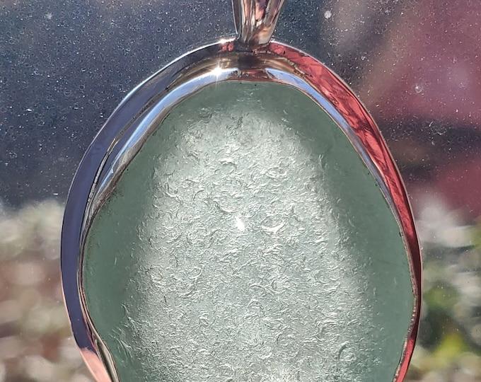 Aqua sea glass pendant, handmade, bezel set, using sea glass found by us on the beaches of Provincetown MA