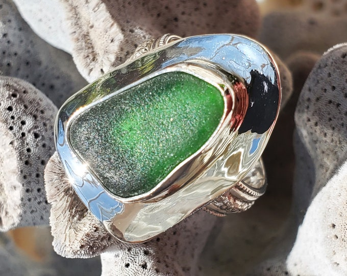 Emerald green sea glass ring handmade, any size and band style at no extra cost, made from sea glass found on the beaches of Ptown MA