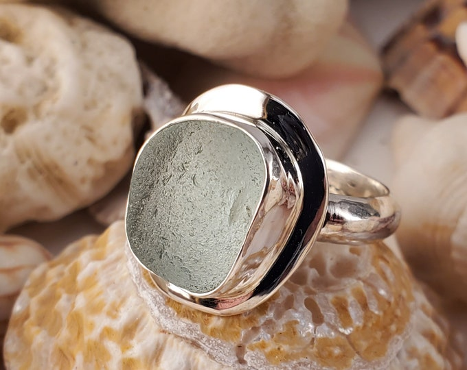 Handcrafted aqua sea glass ring, using sea glass found, and used as found by us, any size and band style, on the beaches of Provincetown MA