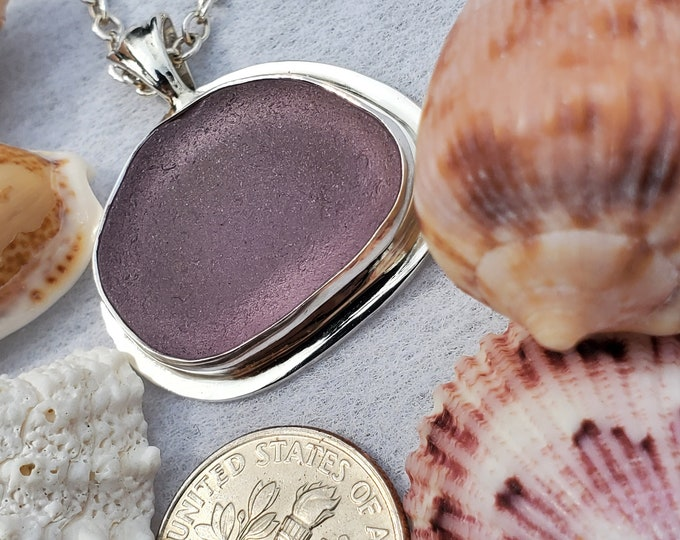 Purple sea glass pendant, bezel mounted in fine, .999, silver, using sea glass found by us on the beaches of Ptown MA