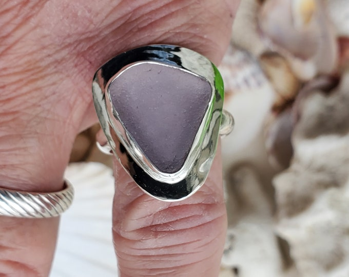 Purple sea glass ring, handmade, bezel set in fine silver and sterling silver, any size and band style at no extra charge.
