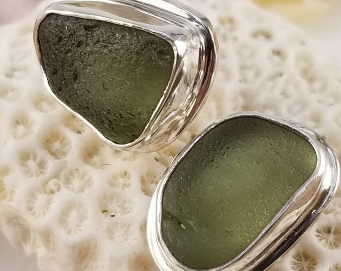 olive green sea glass stud earrings handcrafted in fine and sterling silver using sea glass found by us on the beaches of Provincetown MA